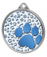 Dog Paw Colour Texture 3D Print Silver Medal