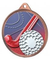Field Hockey 3D Texture Print Full Colour 55mm Medal - Bronze