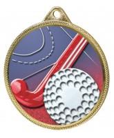 Field Hockey 3D Texture Print Full Colour 55mm Medal - Gold