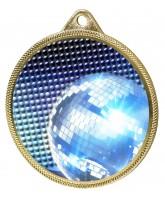 Glitterball Dance Blue Texture 3D Print Gold Medal