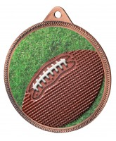 Gridiron Football Colour Texture 3D Print Bronze Medal