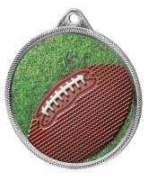 Gridiron Football Colour Texture 3D Print Silver Medal