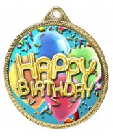 Happy Birthday Colour Texture 3D Print Gold Medal
