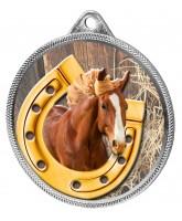 Horseshoe Equestrian Colour Texture 3D Print Silver Medal