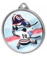 Ice Hockey Colour Texture 3D Print Silver Medal