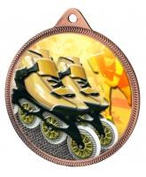 Inline Skating Colour Texture 3D Print Bronze Medal
