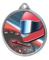Motor Racing Colour Texture 3D Print Silver Medal