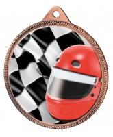Motorsports Helmet and Flag Colour Texture 3D Print Bronze Medal