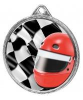 Motorsports Helmet and Flag Colour Texture 3D Print Silver Medal