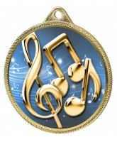 Music Notes Colour Texture 3D Print Gold Medal