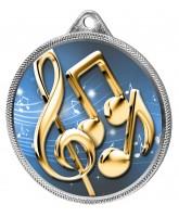 Music Notes Colour Texture 3D Print Silver Medal