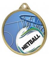 Netball 3D Texture Print Full Colour 55mm Medal - Gold