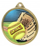 Softball Colour Texture 3D Print Gold Medal