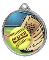 Softball Colour Texture 3D Print Silver Medal