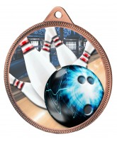 Tenpin Bowling Colour Texture 3D Print Bronze Medal