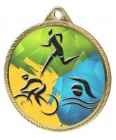 Triathlon Colour Texture 3D Print Gold Medal