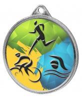 Triathlon Colour Texture 3D Print Silver Medal