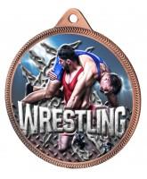 Wrestling Colour Texture 3D Print Bronze Medal