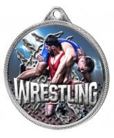 Wrestling Colour Texture 3D Print Silver Medal