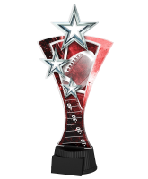 Red and Silver Triple Star American Football Trophy