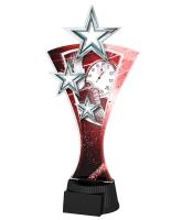 Red and Silver Triple Star Athletics Trophy