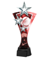 Red and Silver Triple Star Baseball Trophy