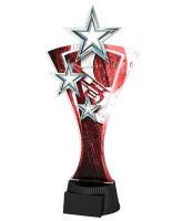 Red and Silver Triple Star Pistol Shooting Trophy