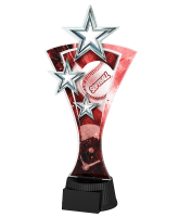 Red and Silver Triple Star Softball Trophy