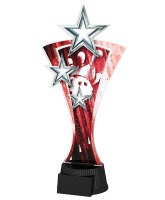 Red and Silver Triple Star Tenpin Bowling Trophy