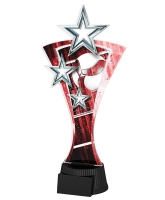 Red and Silver Triple Star Volleyball Trophy