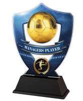 Blue Managers Player Football Shield Trophy