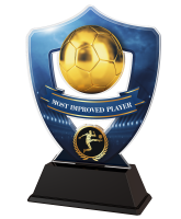 Blue Most Improved Player Football Shield Trophy