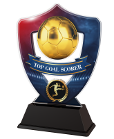 Red and Blue Top Goal Scorer Football Shield Trophy