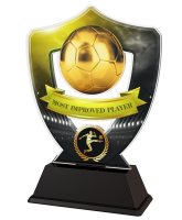 Yellow and Black Most Improved Player Football Shield Trophy