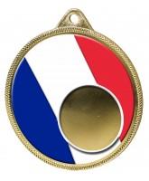 France Flag Logo Insert Gold 3D Printed Medal