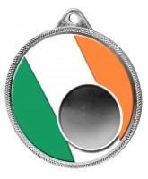 Irish Ireland Flag Logo Insert Silver 3D Printed Medal