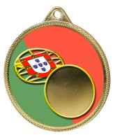 Portugal Flag Logo Insert Gold 3D Printed Medal