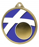 Scotland Flag Logo Insert Gold 3D Printed Medal