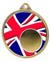 Union Jack Flag Logo Insert Gold 3D Printed Medal