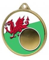 Wales Flag Logo Insert Gold 3D Printed Welsh Medal