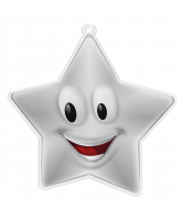 Happy Face Mini Star Silver Medal