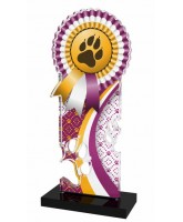 Lassie Pink and Gold Paw-print Rosette Trophy