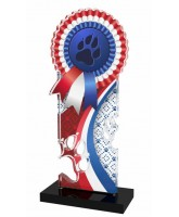 Lassie Red and Blue Paw-print Rosette Trophy