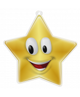 Happy Face Mini Star Gold Medal
