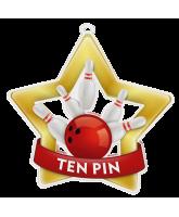 Ten Pin Bowling Mini Star Gold Medal