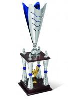 Fascino Four Column Silver Blue Trophy