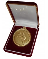 Deluxe Velour Medal Box Red 70mm