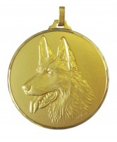 Diamond Edged Dog Head Gold Medal