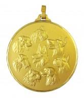 Diamond Edged Multi Dog Head Gold Medal