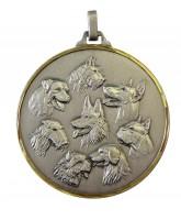 Diamond Edged Multi Dog Head Silver Medal